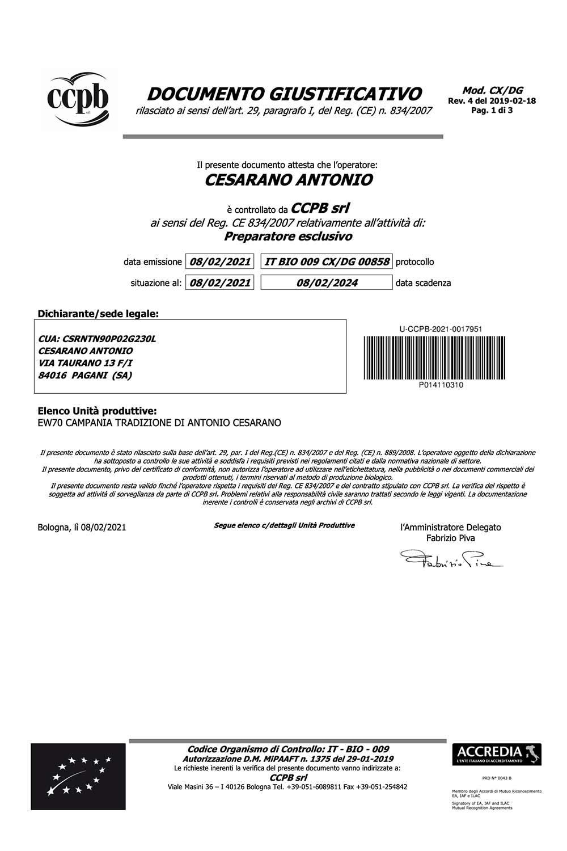 Certificato Bio Giustificativo Campania Tradizione
